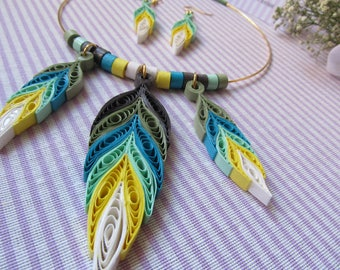 DreamCatcher yellow and green paper filigree Necklace