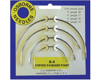 C.s. Osborne  No. K-4 - Curved 3 Square Point Needle Card (4 Asst. Size) # 15016