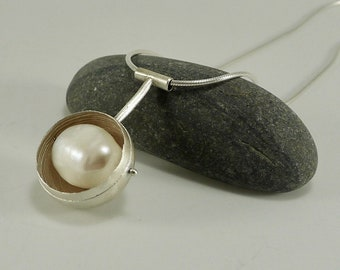 Sterling Silver and Pearl Orb Necklace - N1431