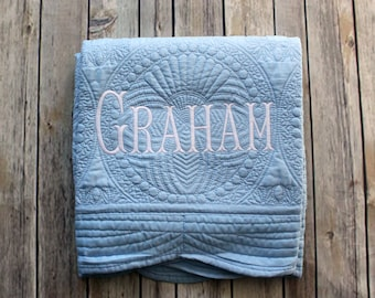 Monogrammed Baby Quilt, Personalized Boy Baby Blanket, Personalized Baby Quilt, Monogrammed Baby Blanket, New Baby, Baby Boy Quilt, Blanket