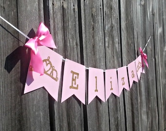 Pink and Gold Princess Birthday Name Banner, Royal Crown Banner, Baby Girl  Party Decorations, Baby Shower Decor