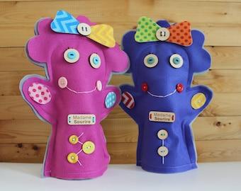 Marionnette à main en feutre, pour main d'adulte ou enfant. Madame Sourire et Monsieur Grognon.