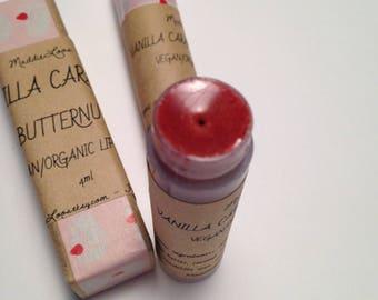 Vegan-Organic Vanilla Caramel Butternut -Organic Lip Balm-Red Sparkle- yummy flavor-with lemon balm for cold sores/chapped lips(4ml)