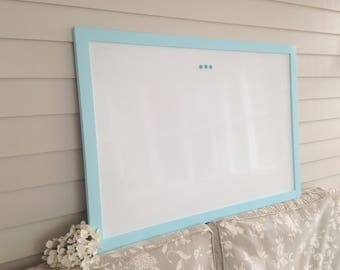 DRY ERASE Whiteboard - Extra Large MAGNETIC Board Solid Wood Framed Memo Board Serenity Sky Blue Deluxe Modern Handmade Frame Button Magnets