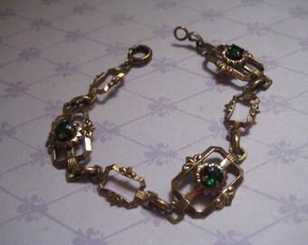 ISKIN Art Deco 10K Gold Filled Link Bracelet with Green Stones