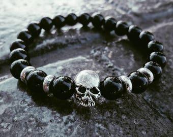 Skull Bracelet Black Stone Bead