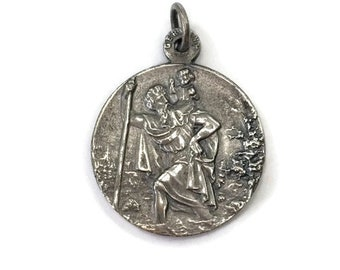 St Christopher Medal Saint Christopher Medal Pendant Automobile Travel Protection Charm German Protect Germany Religious Jewelry Gift