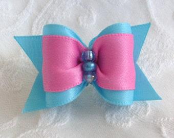 Aqua Blue and Pink Dog Bow