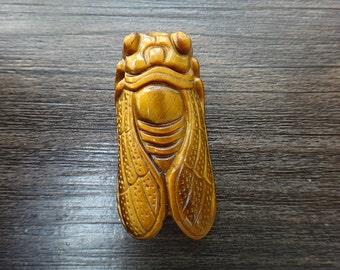 Natural Tiger Eye stone cicada Amulet pendant
