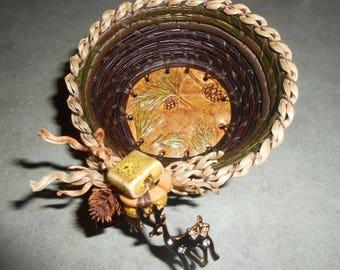 Deer Pine Needle Forest  Basket 4'' x 2''