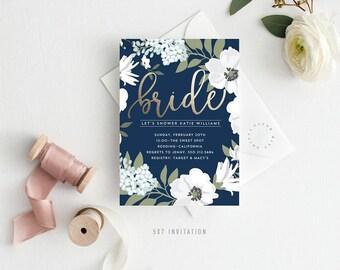 Printable Bridal Shower Invitation | Golden Bride, Faux Foiling, Navy Blue, Kraft, Floral, Bride to Be