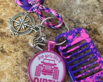 Jeep Grill Key Fob with powder coated grill in Purple with Pink paint splatter, compass and wave charm