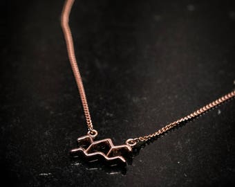 Rose Gold Over Sterling Silver Zodiac Necklace - Aquarius
