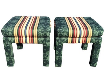 Pair of Square Upholstered Parsons Stools