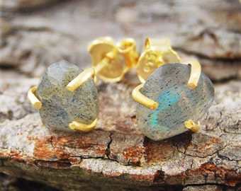 Boho Earrings, Studs, Gold Studs, Gold Gemstone Earrings, Labradorite Earrings, Labradorite Studs, Gemstone Earrings, Gemstone Stud Earrings