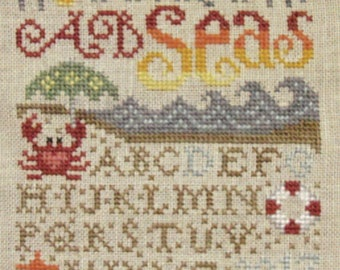 SILVER CREEK SAMPLeRS My A B Seas counted cross stitch patterns at thecottageneedle.com nautical ocean sea 2018 Nashville Market
