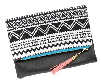 Boho Tassel Clutch in Black and White Tribal Print and Black Vegan Leather and Gold zipper close