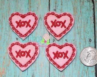 XOX Heart Felties Set of 4 - Valentine Felt Pieces - Felties
