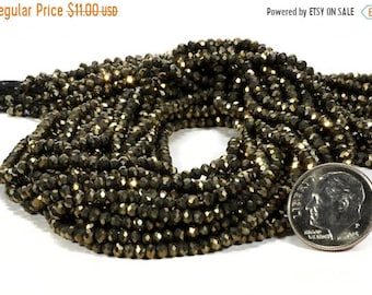 ON SALE Pyrite Rondelles Beads Faceted Natural Pyrite Rondels Fools Gold Roundels Earth Mined Pyrite -  2.8mm Rondelles  - 6.5-inch Strand
