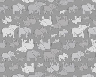 Elephant Family on Gray, Lewis and Irene, quilting cotton, fabric by the yard, nursery prints, jungle, animal fabric, marching elephant