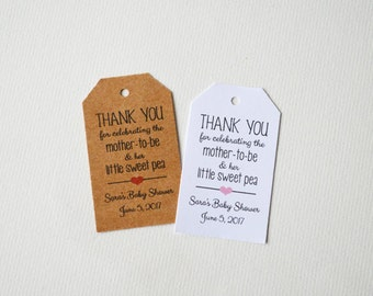 Baby Shower, 1.25 x 2.25 Kraft or White Small Label Tags - Custom Favor Tags, Hang Tags, Gift Tags - little sweet pea
