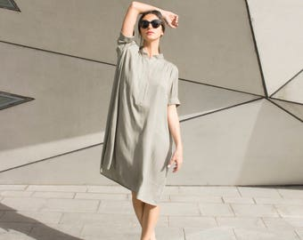 Short Dress, Light Green Dress, Loose Dress, Spring Dress, Minimalist Style, Casual Dress, Knee Length Dress, Unique Style, Loose Clothing