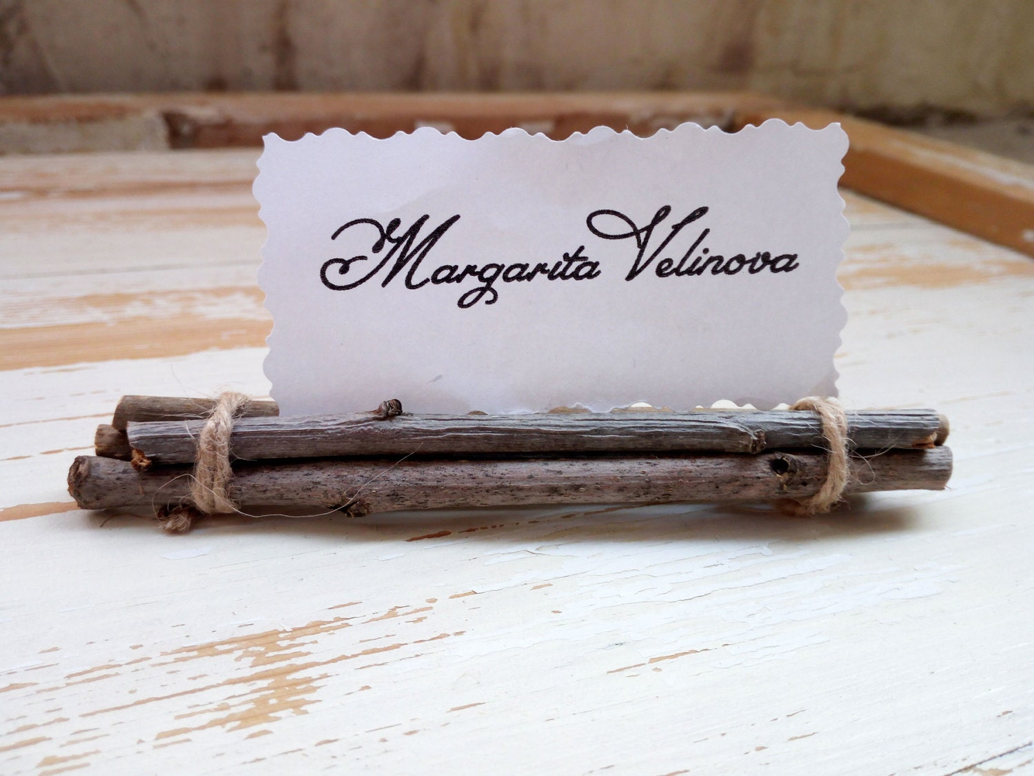zoom Wood place card holder Wooden name