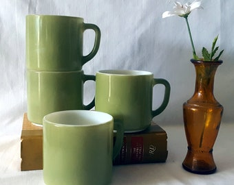 Vintage Set of Four Fire King Mugs, Avocado Green, Milk Glass, Stackable Coffee Mugs