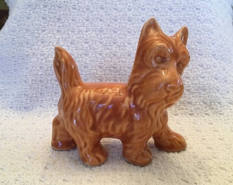 Ceramic Scottie Dog, Porcelain Scottie Dog, Dog Figurine, Scottie Dog Figurine, Caramel Scottie Dog Figurine, Brown Scottie Dog