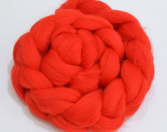 Merino Wool Combed Top - Red - Spinning - 100 grams