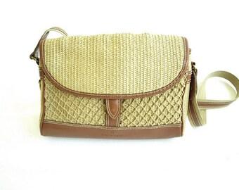 RAFFIA ROPE PURSE. Vintage Etienne Aigner Purse. Straw Net Shoulderbag. 80s Crossbody Bag.