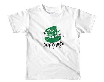 Kiss me I'm Irish St Patrick's Day Leprechaun shamrock Short sleeve kids t-shirt