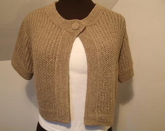 Ribbon Knit Shrug Taupe Oatmeal Tan Beige Short Sleeve Top Button Open Front Open Weave Soft August Silk Women's size S Small