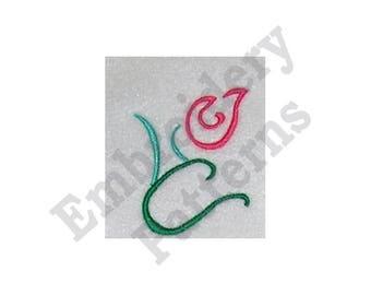Rosebud Outline - Machine Embroidery Design - 4 X 4 Hoop, Rose, Floral, Flower