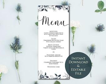 Greenery Purple Wedding Menu Template, Menu Template, Purple Wedding Menu, Editable Wedding Menu, Instant Download, Printable menu,vine menu