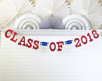 Class of 2018 Banner - Glitter 5 inch Letters - Graduation Party Decor Graduation 2018 Banner Grad Garland High School College Glitter 2018