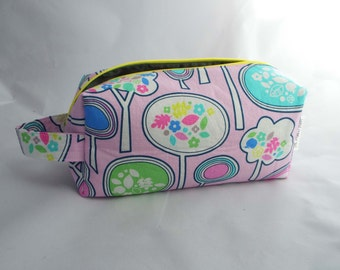 Boxy Bag // Dopp Kit // Zipper Cosmetic Case // Toiletry Bag // Travel Bag // Project Bag // Knitting Bag - Pink with Whimsical Trees