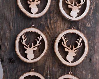 Set of 10, Christmas tree ornaments, rustic wood Christmas tree decorations, wood antlers, handmade rustic Christmas gift, house decor