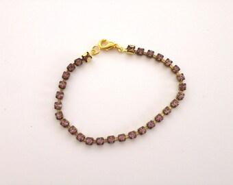 Minimal Rhinestone bracelet - Old Pink - Crystal bracelet - delicate bracelet - Skinny bracelet - Everyday jewelry