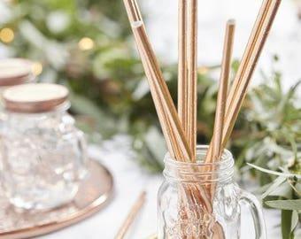 Set of 25 straws in copper
