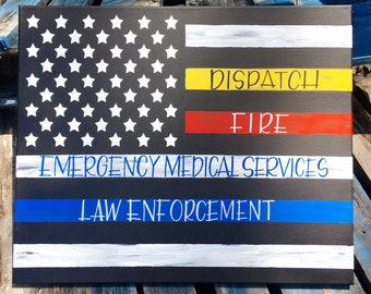 Thin Line Flag   Canvas   Emergency Services   Dispatch   Fire   Law Enforcement   Police   LEO   Firefighter   EMS   Distressed Flag