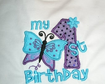 My 1st Birthday Butterfly Style Personalized Birthday Shirt.. Boy or Girl any color scheme or design