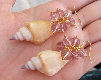 "Real Natural Conch Shell Seashell Light Pink Sparkling Swarovski Crystal Beaded Cluster Ocean Beach Summer Mermaid Gold Dangle Earrings 2.5"""