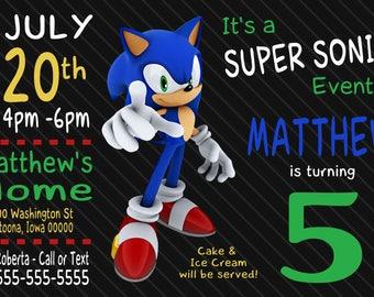 Sonic the hedgehog birthday invitation etsy custom sonic the hedgehog birthday invitation print at home filmwisefo