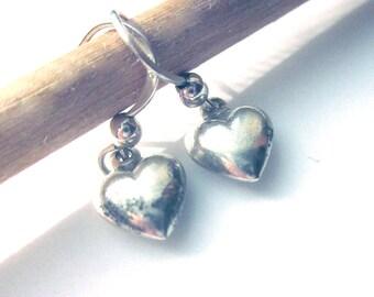 Sterling Silver Puffy Heart Earrings