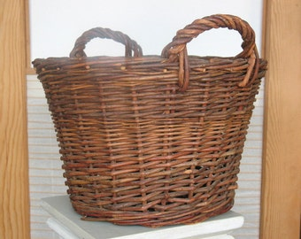 Basket with Two Handles . Vintage Polish Basket - Vintage Basket - Large Basket