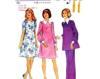 Maternity Dress, Tunic, Pants Pattern Style 4145 Vintage Maternity Sewing Pattern Top Long Sleeves and Trousers Womens Bust 36