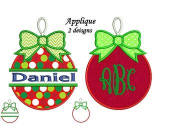 Christmas Ornament Applique Design - Bow Ornament Split Machine Embroidery 4x4, 5x7, 6x10 hoops
