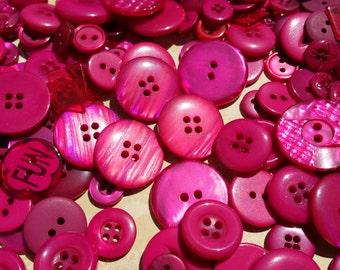 Pink Buttons - Sewing Bulk Button - Dark Pink Buttons - 100 Buttons - Deepest Magenta Pink