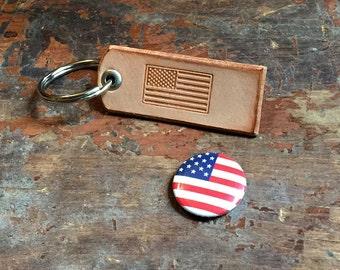 American Flag Leather Keychain